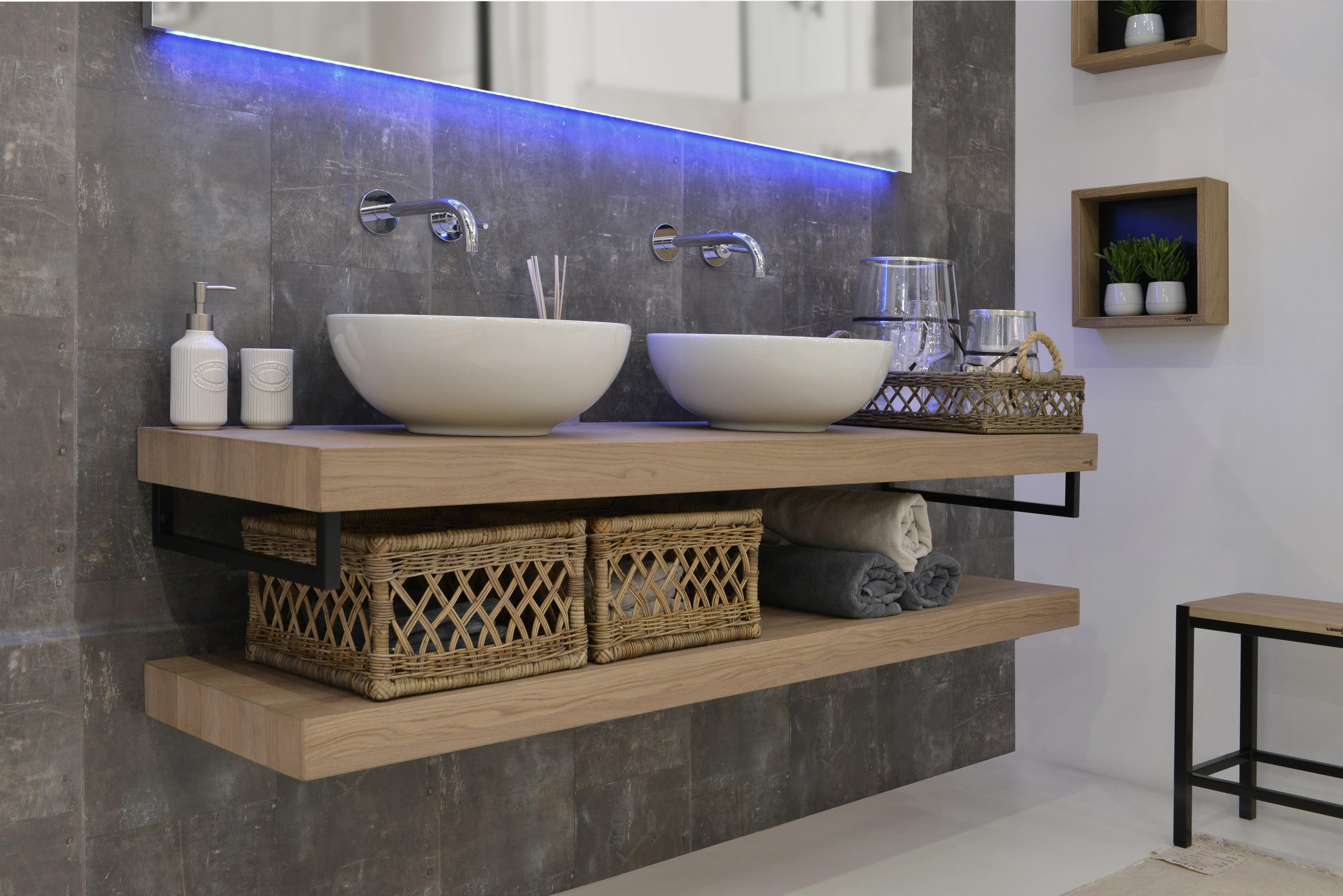 LoooX Wooden Base Shelf Duo 100 cm met handdoekhouders RVS, old grey eiken