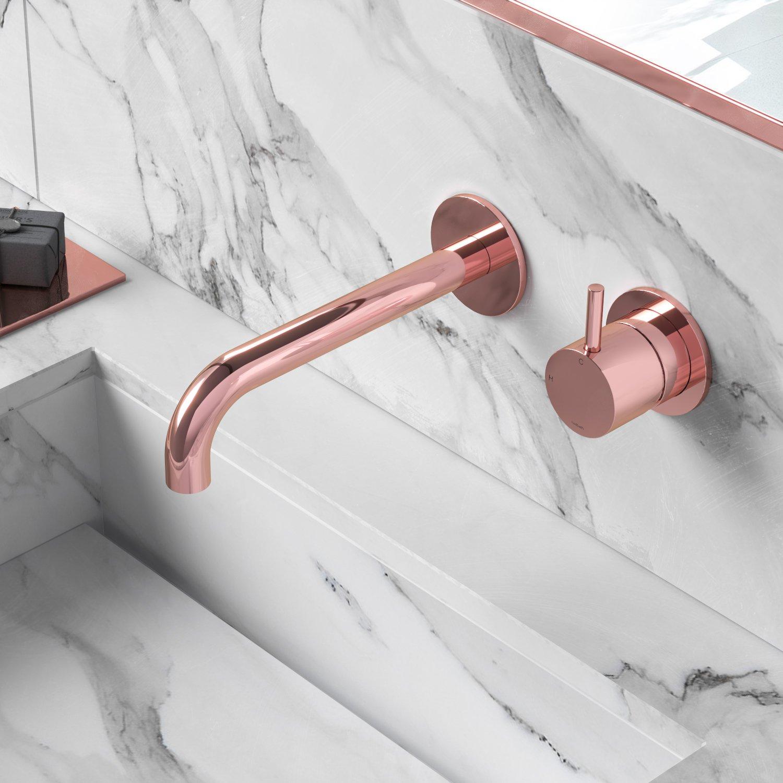 Hotbath Cobber afbouwdeel inbouwwastafelmengkraan met 18 cm uitloop, roze goud