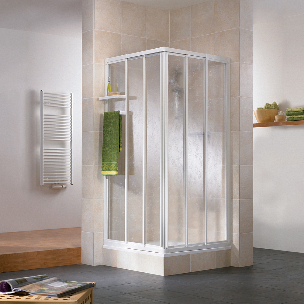 Productafbeelding van HSK Favorit hoekinstap 3-delig veiligheidsglas 75-90x185cm, alu zilver-mat