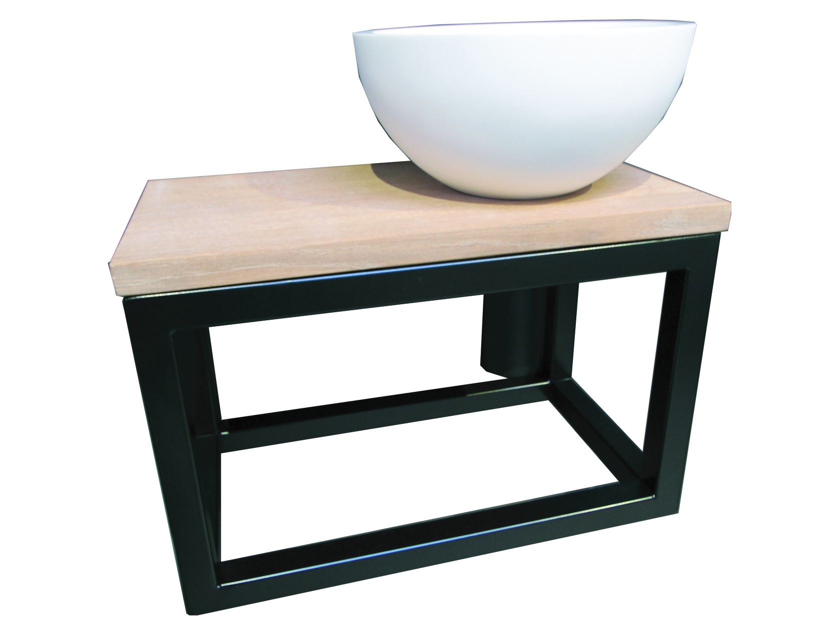 Luca Sanitair Steel Frame fonteinset met mat witte opzetkom 40 x 22 x 25 cm, zwart