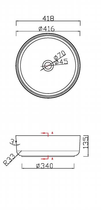 Luca Sanitair Luva ronde opzetwastafel met dunne randen van solid surface 42 x 42 x 13,5 cm, mat wit
