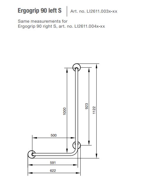 Linido Ergogrip hoekbeugel 90 graden type b l-vormig greep rechts, antraciet ral 7021