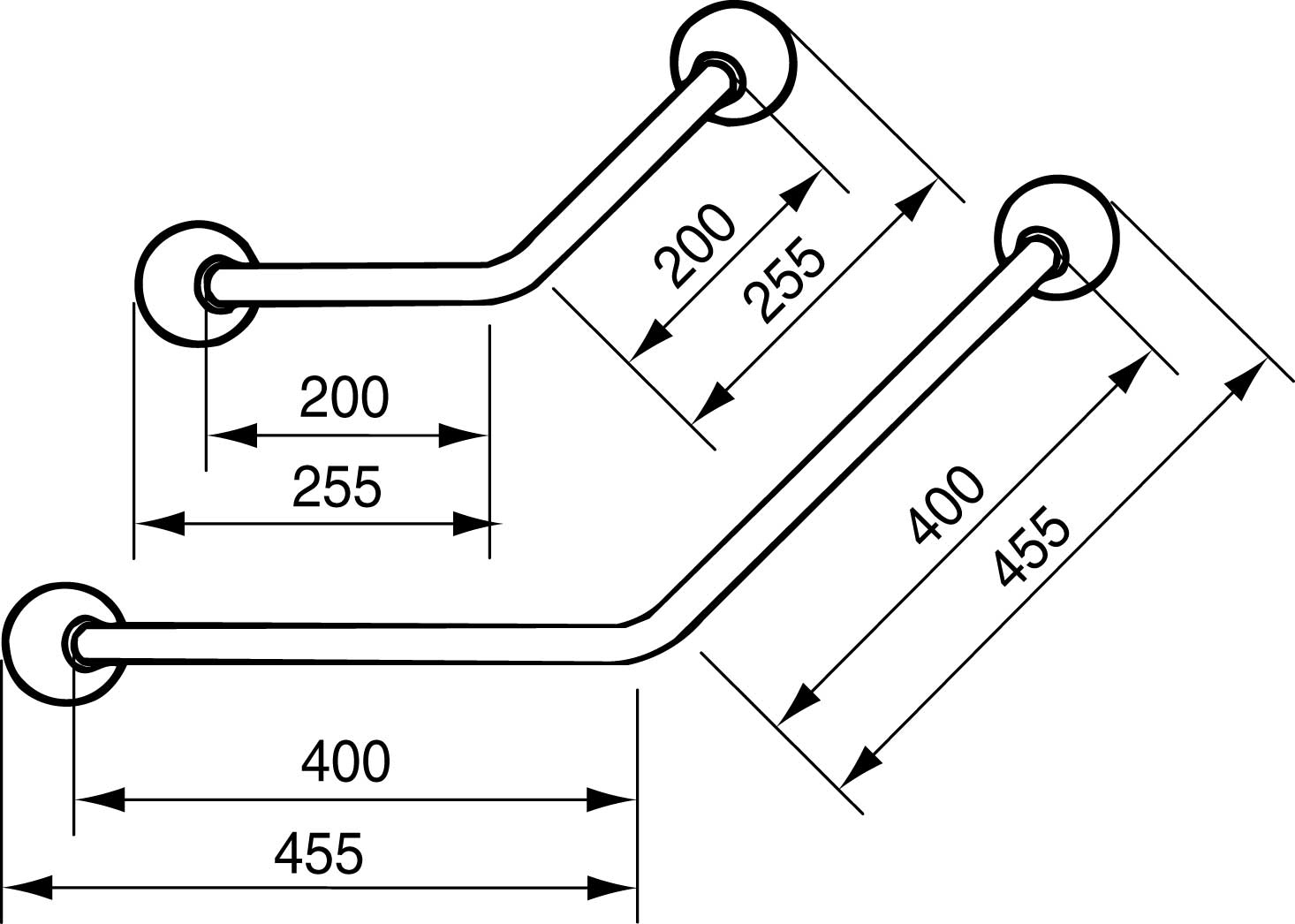 Linido Ergogrip hoekwandbeugel 45 graden 40 x 40 cm, wit