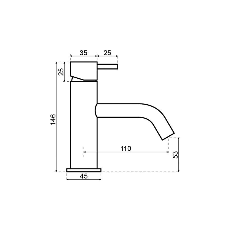 Sub Flow wastafelkraan 14,6cm rechte uitloop met clickwaste, brush gun metal