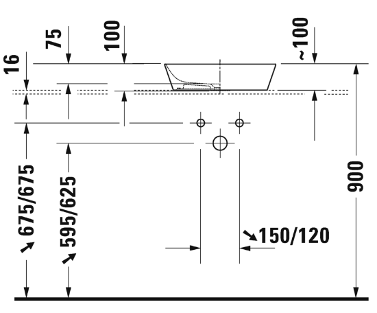 Productafbeelding van Duravit Cape Cod opzetwastafel vierkant, 43 cm, mat wit