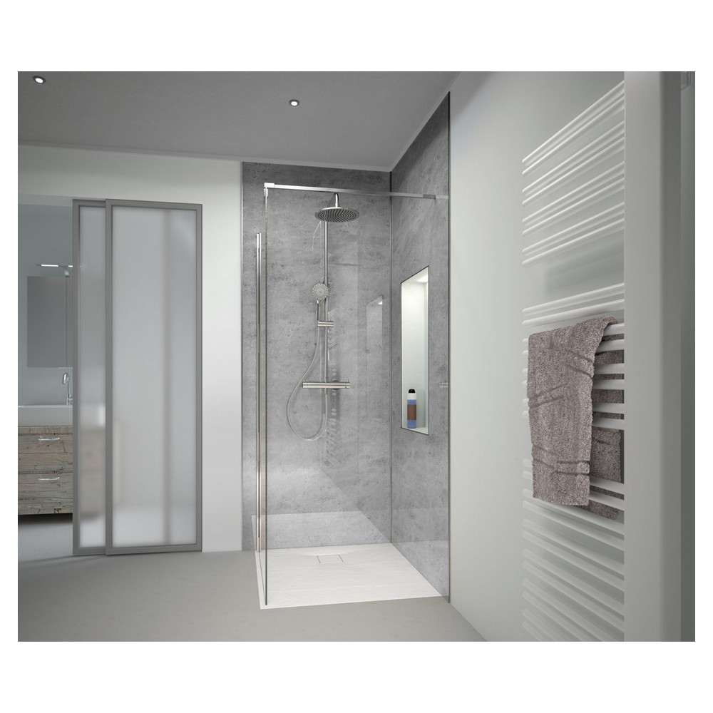 HSK RenoDeco designpaneel 150x255cm 3mm dik natuursteen, asgrijs hoogglans