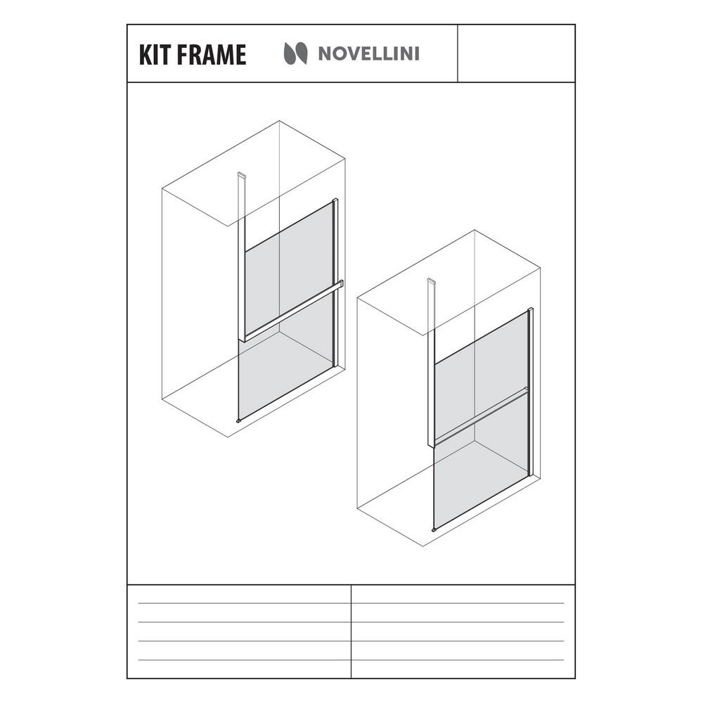 Novellini Kuadra Kit-frame plafondbevestiging voor planchet links, mat wit