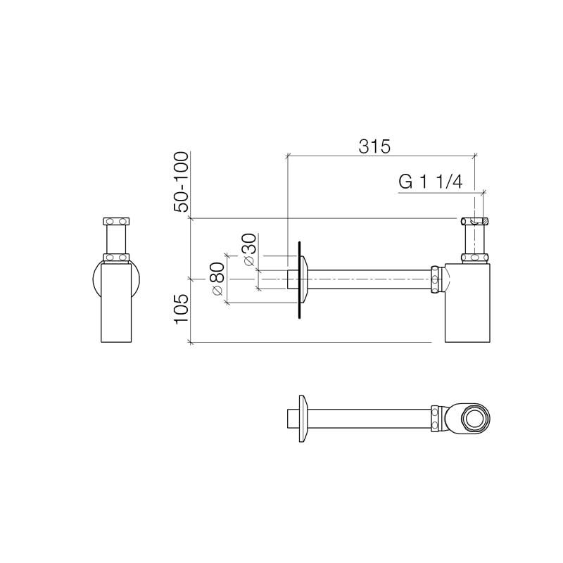 """Dornbracht design bekersifon 5/4"""", chroom"""