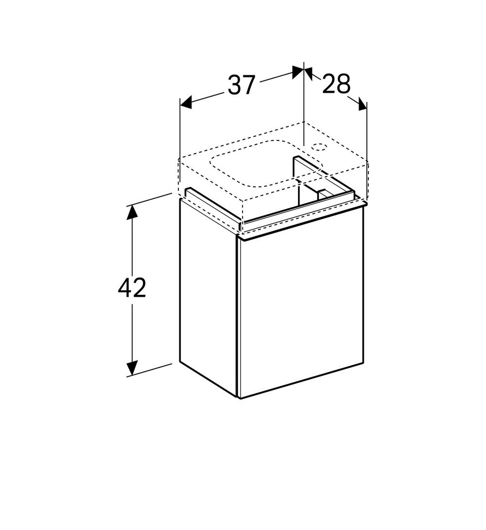 Geberit iCon fonteinonderkast met linksdraaiende deur 37 cm, glans wit