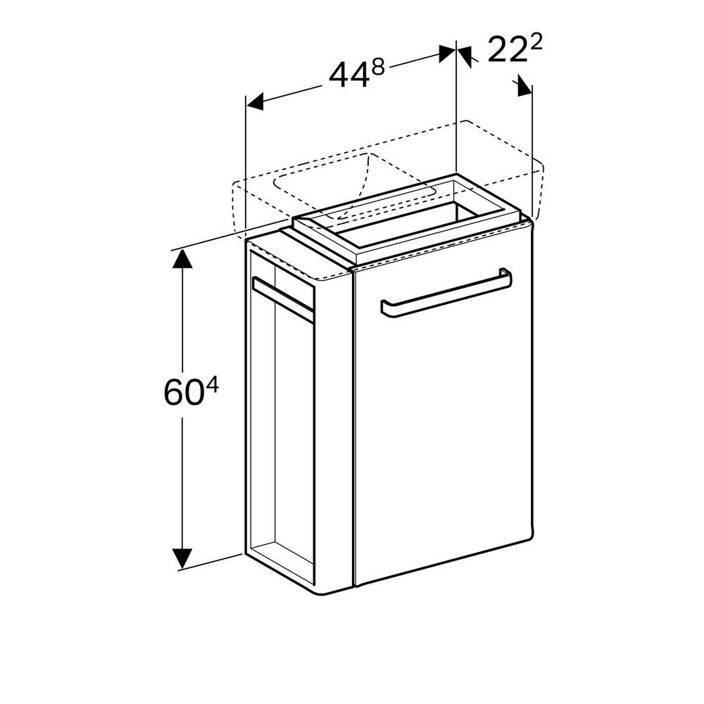 Geberit Renova compact fonteinonderkast 1 handdoekh,45 cm deur, glans lichtgrijs