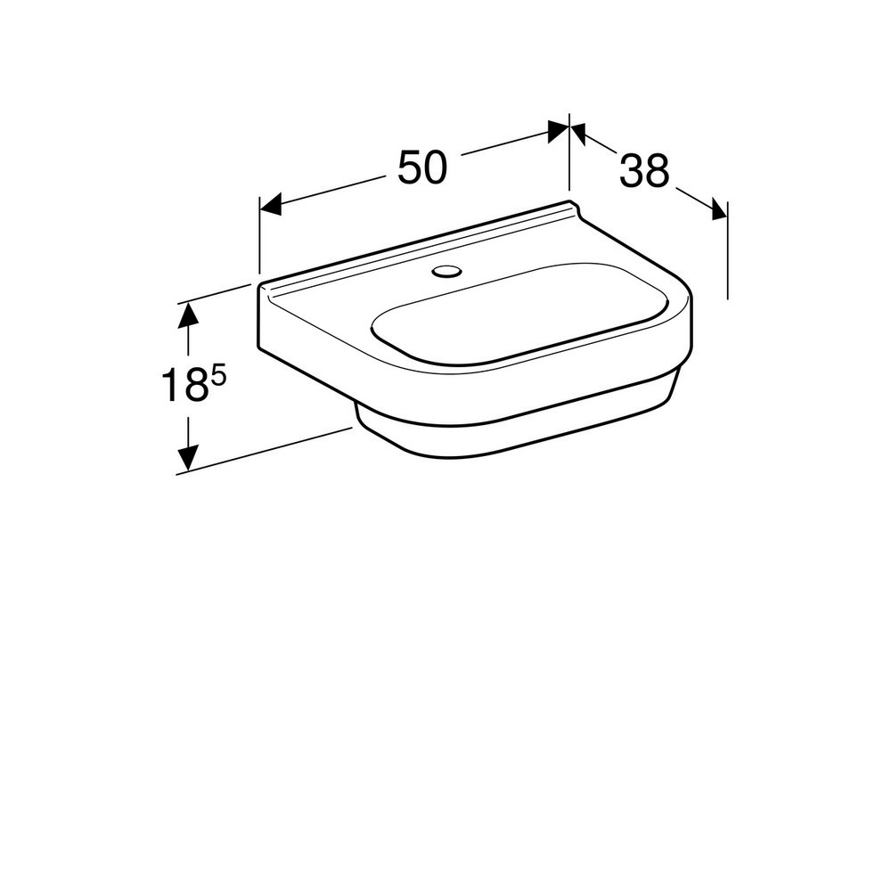 Geberit 300 basic wastafel 50 cm 1 kraangat zonder overloop met Keratect, wit