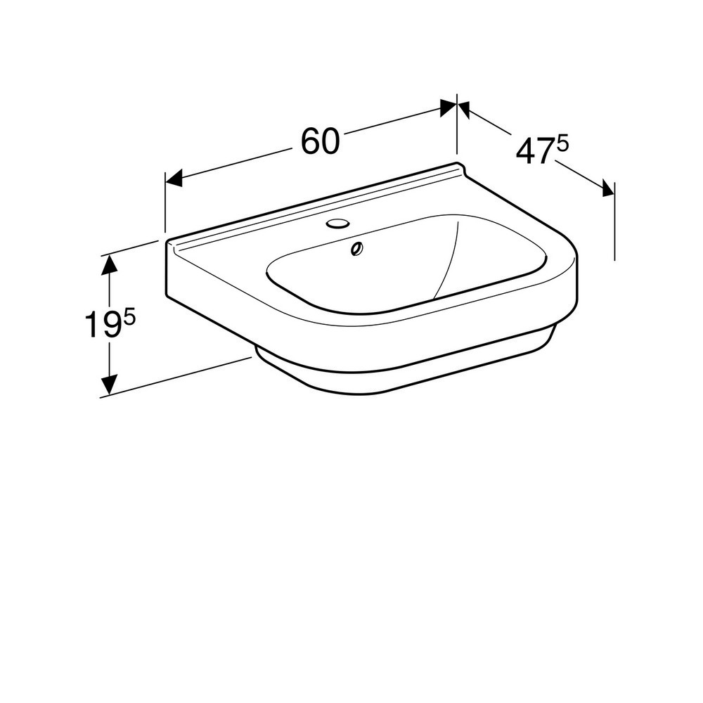 Geberit 300 basic wastafel 60 cm 1 kraangat zonder overloop met Keratect, wit