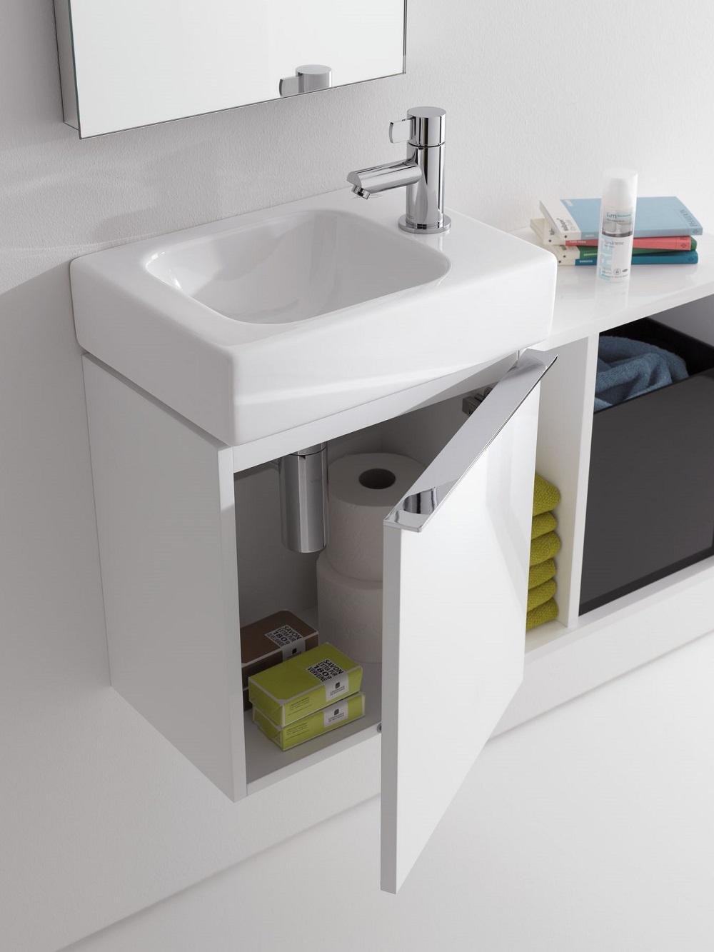 Geberit iCon fonteinonderkast met rechtsdraaiende deur 37 cm, glans wit