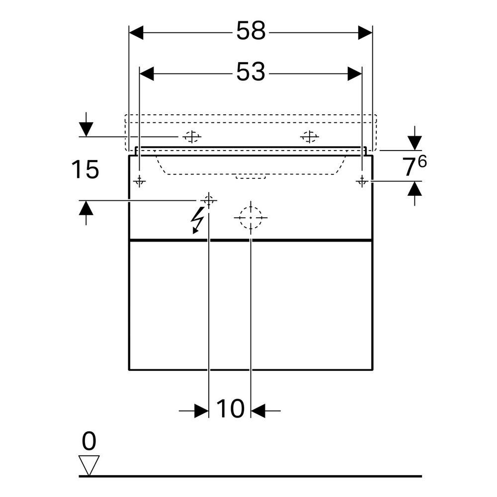 Geberit Xeno2 wastafelonderkast 2 laden 58x53 cm, greige