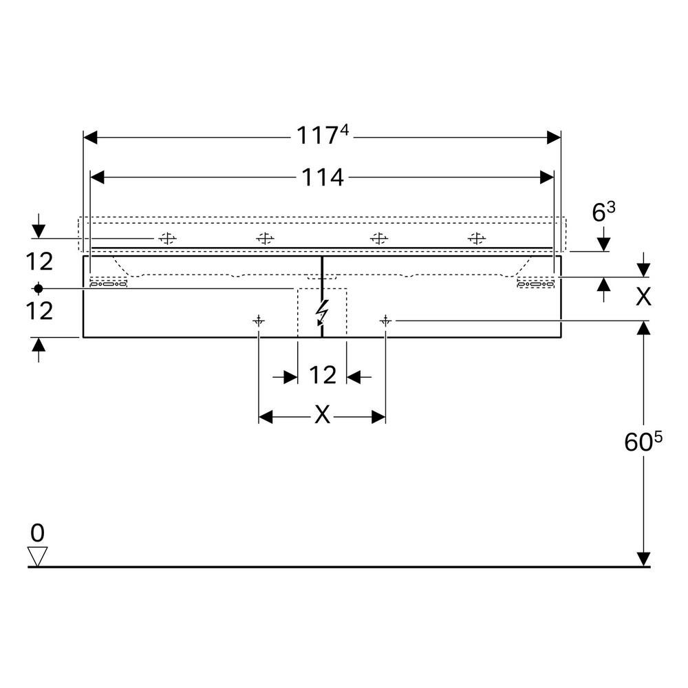 Geberit Xeno2 wastafelonderkast 2 laden 117,4x46,2 cm, greige