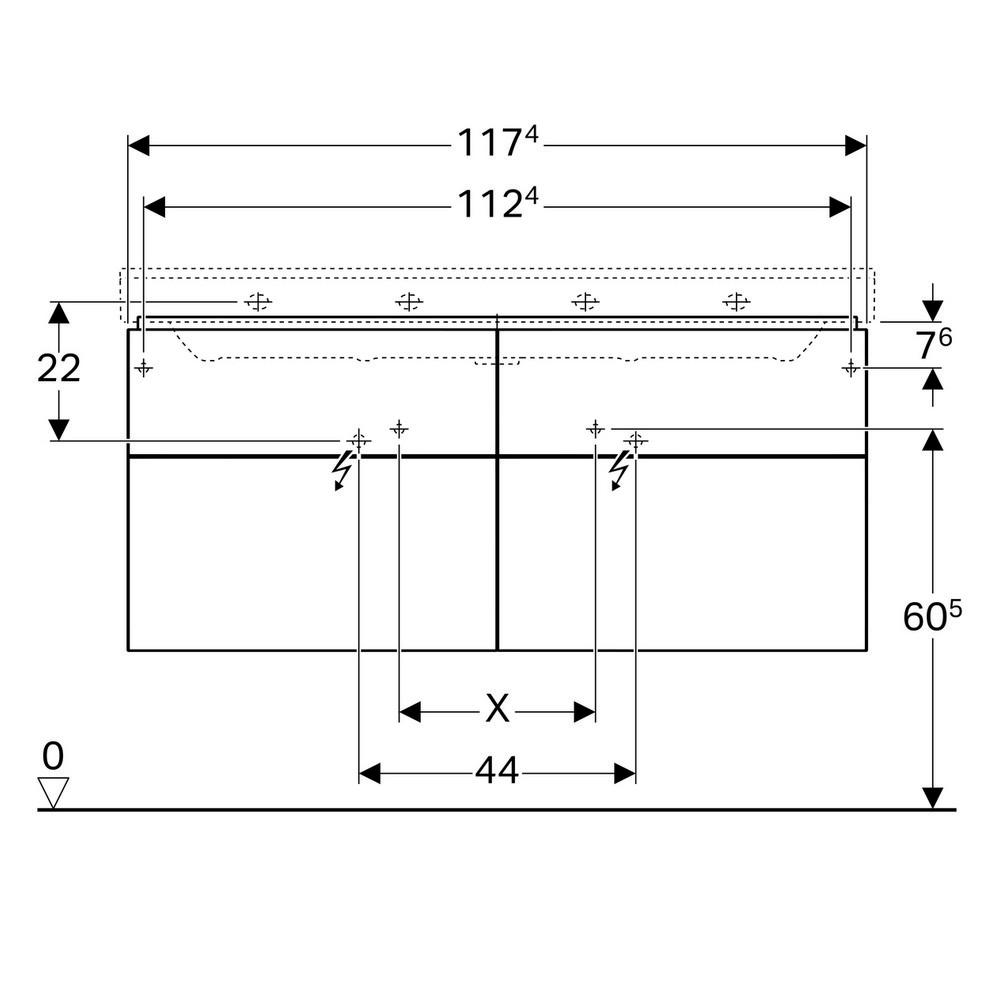 Geberit Xeno2 wastafelonderkast 4 laden 117,4x46,2 cm, greige
