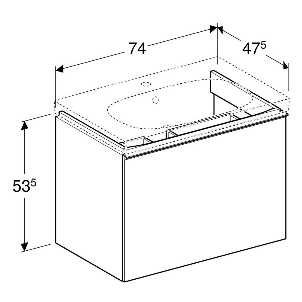 Geberit Acanto wastafelonderkast 1 lade front glas 74 cm, glans zandgrijs