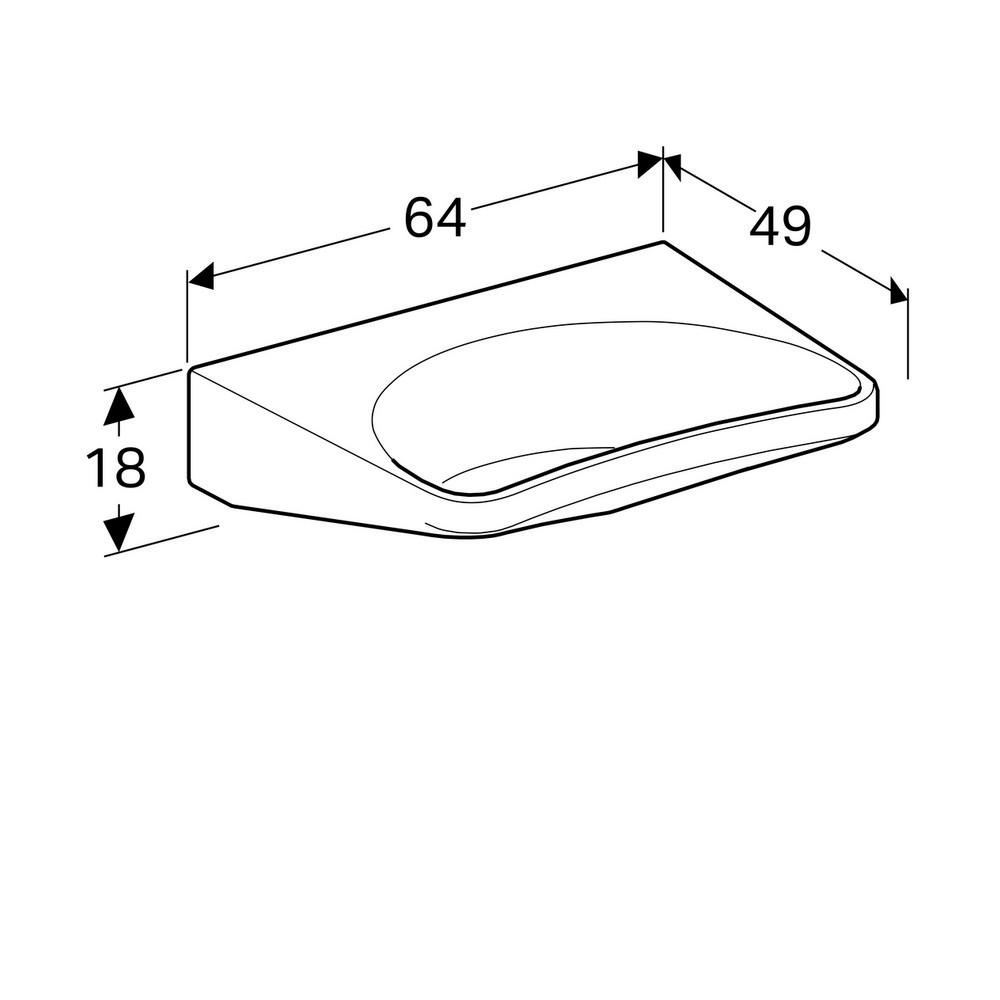 Geberit 300 comfort wastafel 64 cm zonder kraangat zonder overloop met Keratect, wit