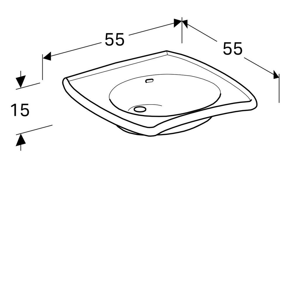 Geberit 300 comfort wastafel 55 cm 1 kraangat met overloop met Keratect, wit