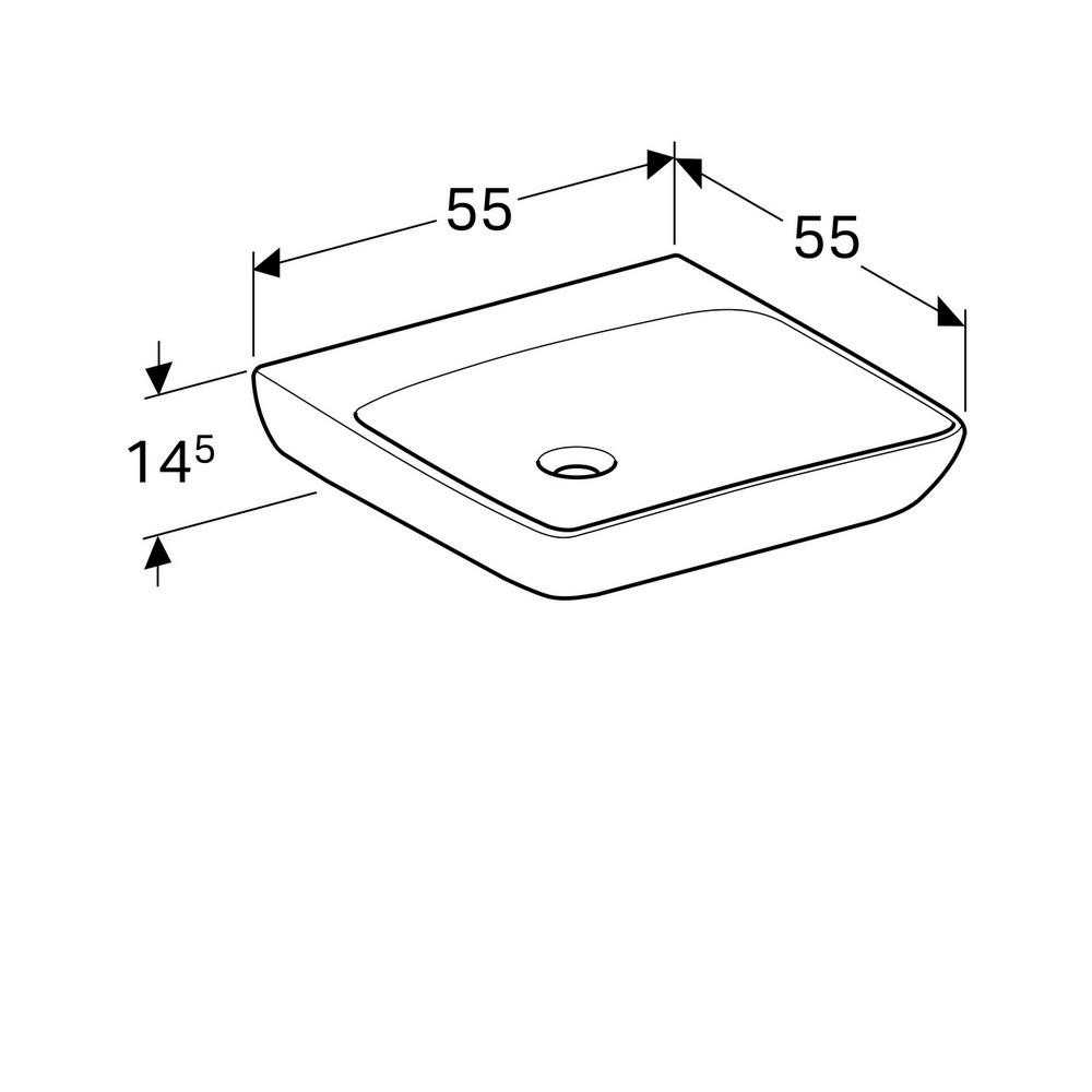 Geberit 300 comfort wastafel 55 cm zonder kraangat zonder overloop, wit
