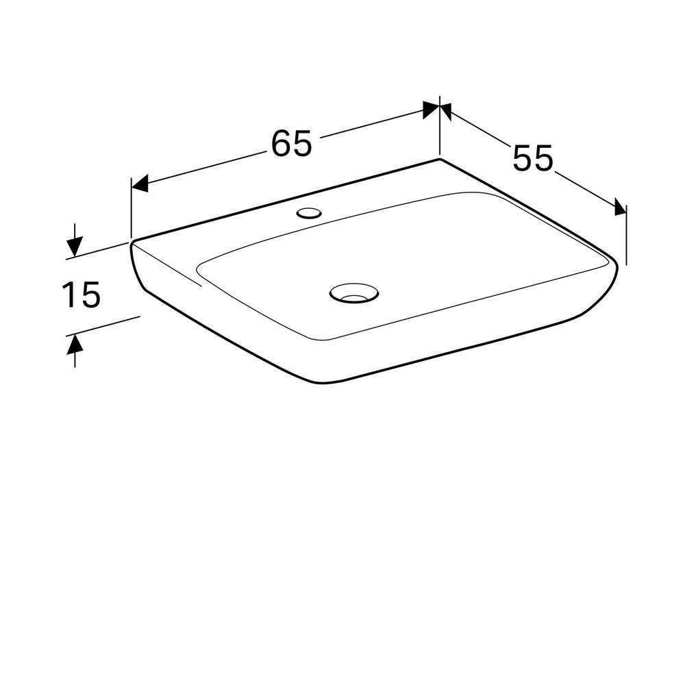 Geberit 300 comfort wastafel 65 cm 1 kraangat zonder overloop, met afgeronde hoeken, wit