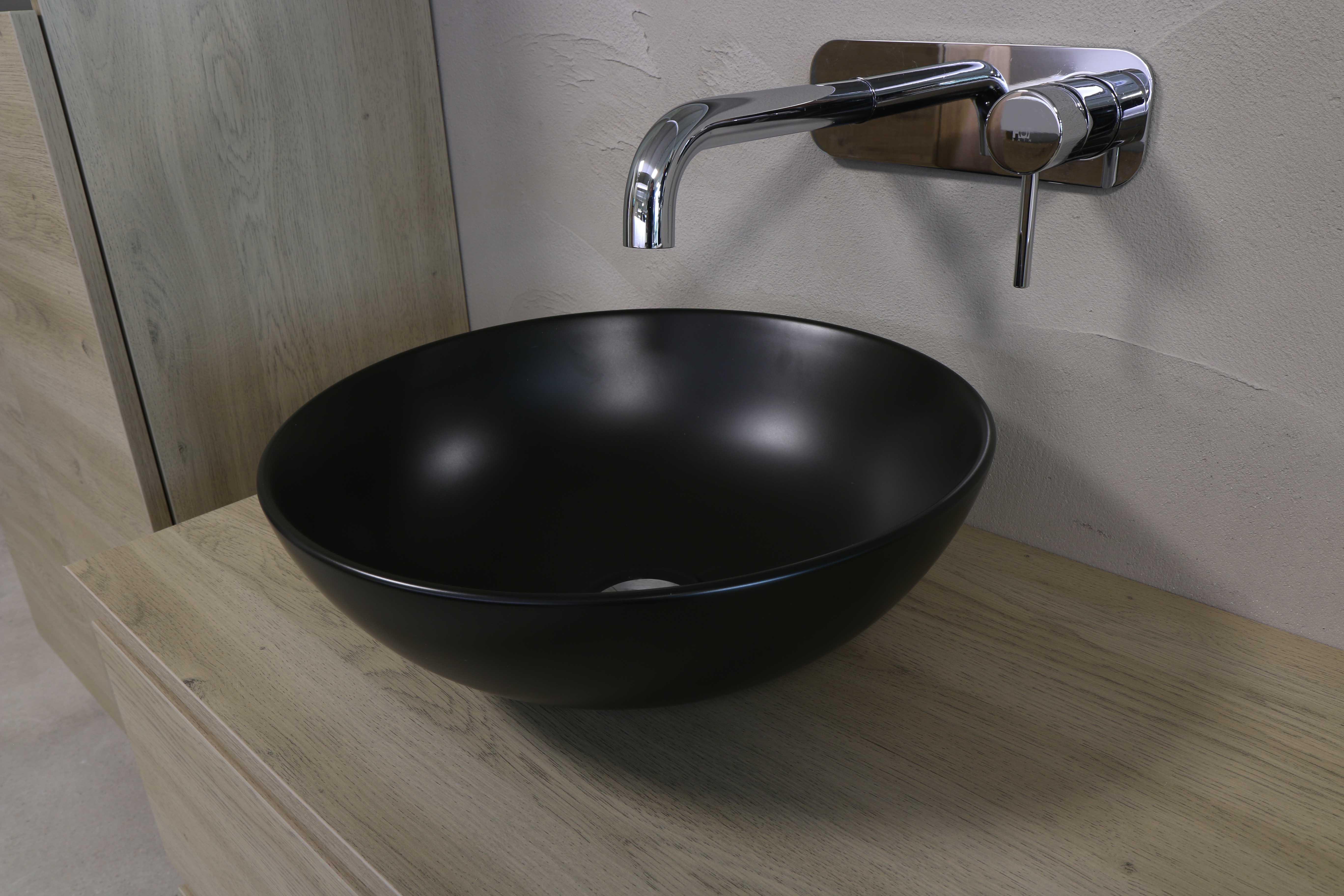 INK Otello Large opbouw waskom rond porselein 40x12 cm, mat zwart