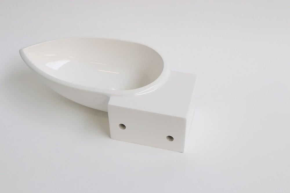 INK Storm fontein 400x120x220 mm, polystone, afzetplateau links, zonder kraangat, glans wit