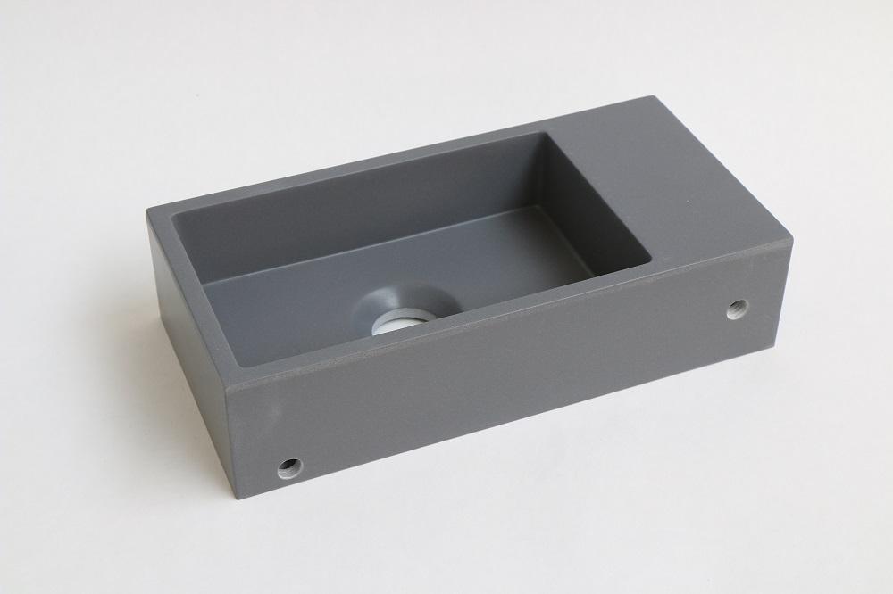 INK Versus fontein 360x90x180 mm, quartz, afzetplateau links, zonder kraangat, grijs
