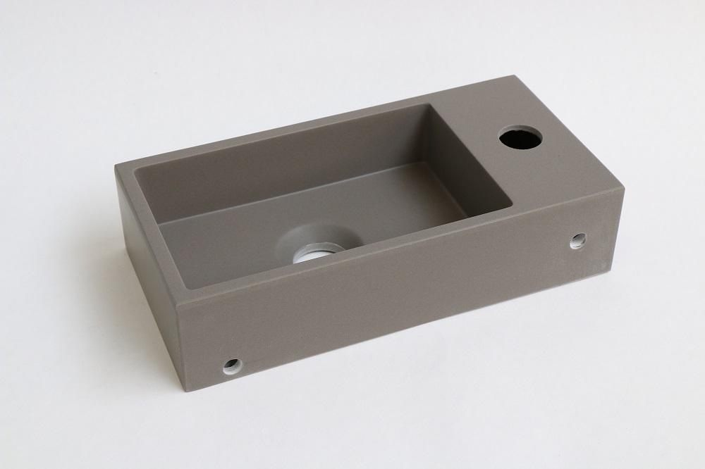INK Versus fontein 360x90x180 mm, quartz, afzetplateau links, met kraangat, beton