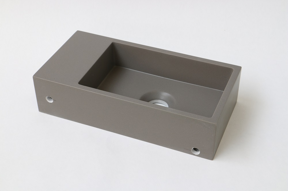 INK Versus fontein 360x180x90 mm, zonder kraangaten, afzetplateau rechts, quartz beton