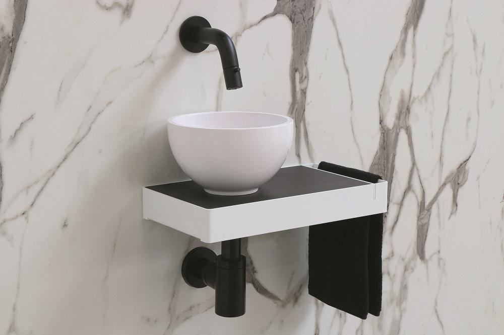 INK Jazz XS fonteinframe staal, handdoekhouder rechts, 360x50x200 mm, glans wit