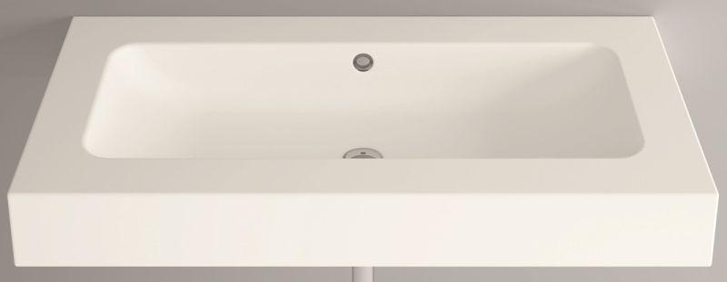 Bette One wastafel 110x53 cm, incl. bevestigingsmateriaal en overloopgarnituur zonder kraangat, wit
