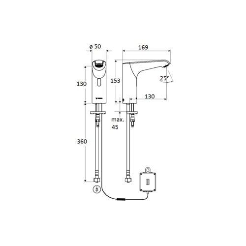 Schell Xeris E HD-K elektronische wastafelkraan medium v. koud water m. batterij 6V m. infrarood sensor chroom