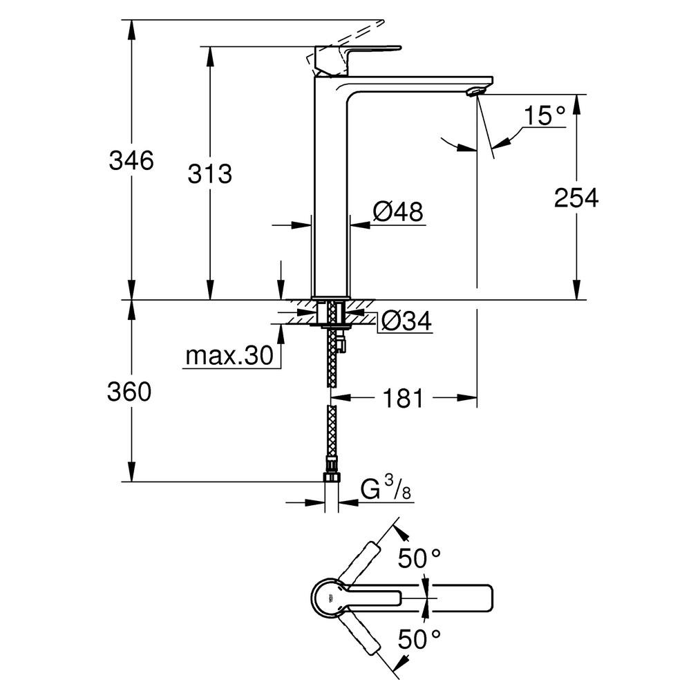 GROHE Lineare eengreeps wastafelmengkraan XL-size voor vrijstaande wastafels, geborsteld hard graphite