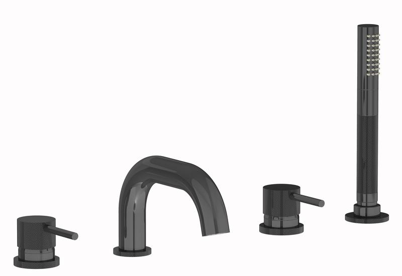 Plieger Roma afbouwdeel voor 4-gats badrandkraan met uitloop en handdouche, zwart chroom