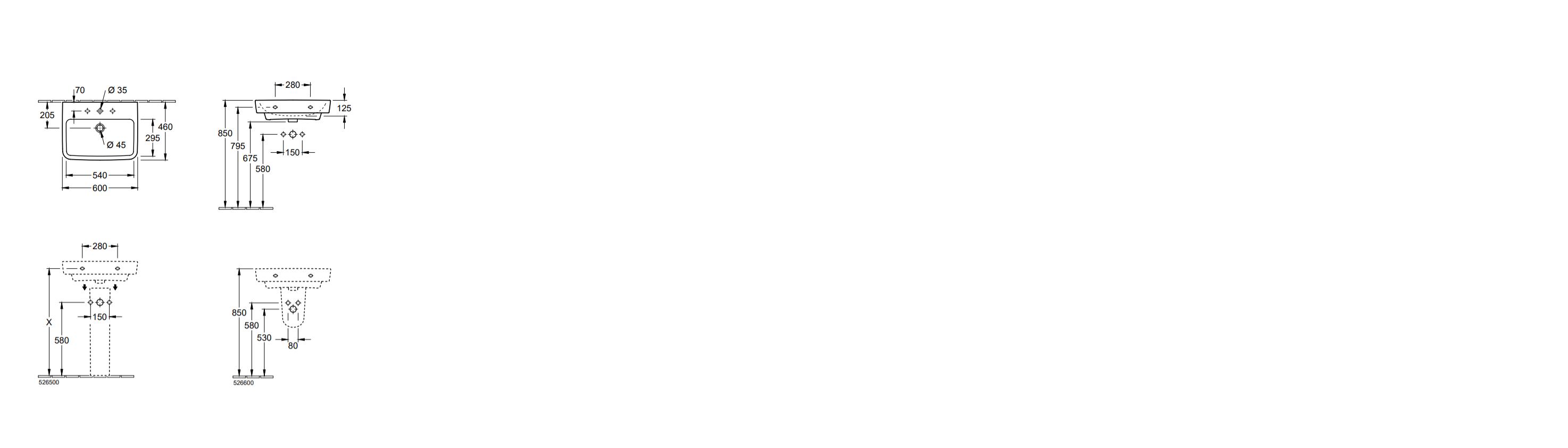 Villeroy & Boch O.novo wastafel 60 x 46 x 17,5 cm, met overloop, Wit Alpin
