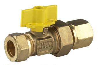 BPE gaskogelkraan messing m. kopp. 1/2x15mm knelxkoppeling bi.dr.-gastec