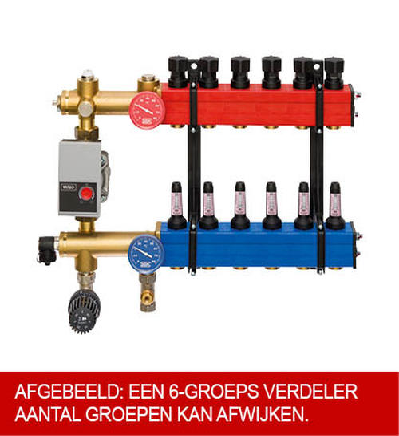 Komfort SBK 4802 verdeler vloerverwarming onderaansluiting m. energiezuinige A-label pomp 10-groeps