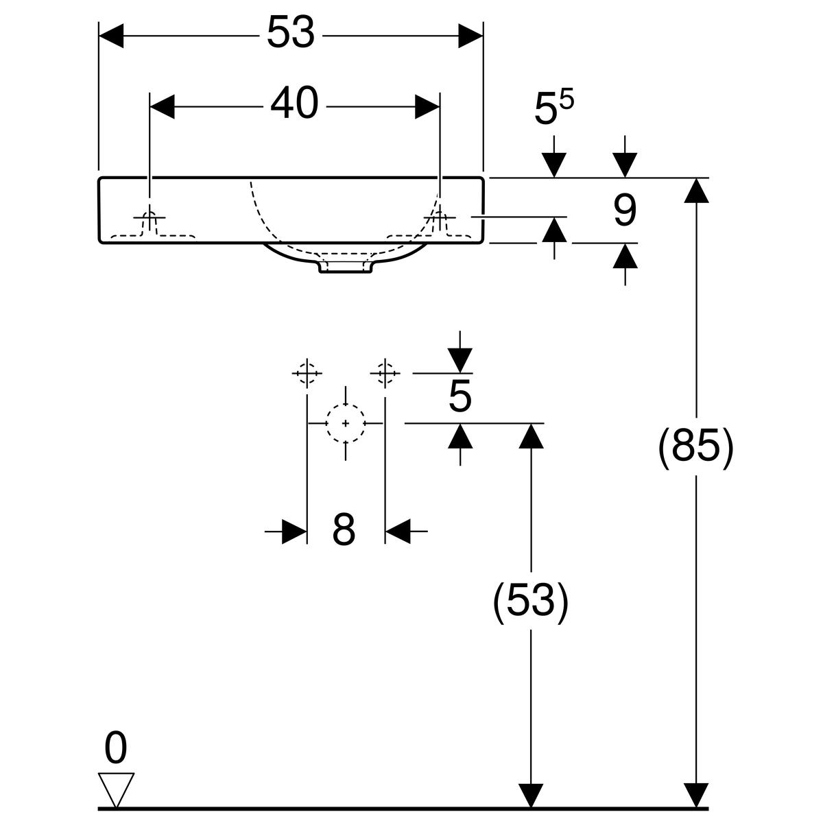 Geberit iCon fontein 53 cm kraangat links zonder overloop KeraTect, wit
