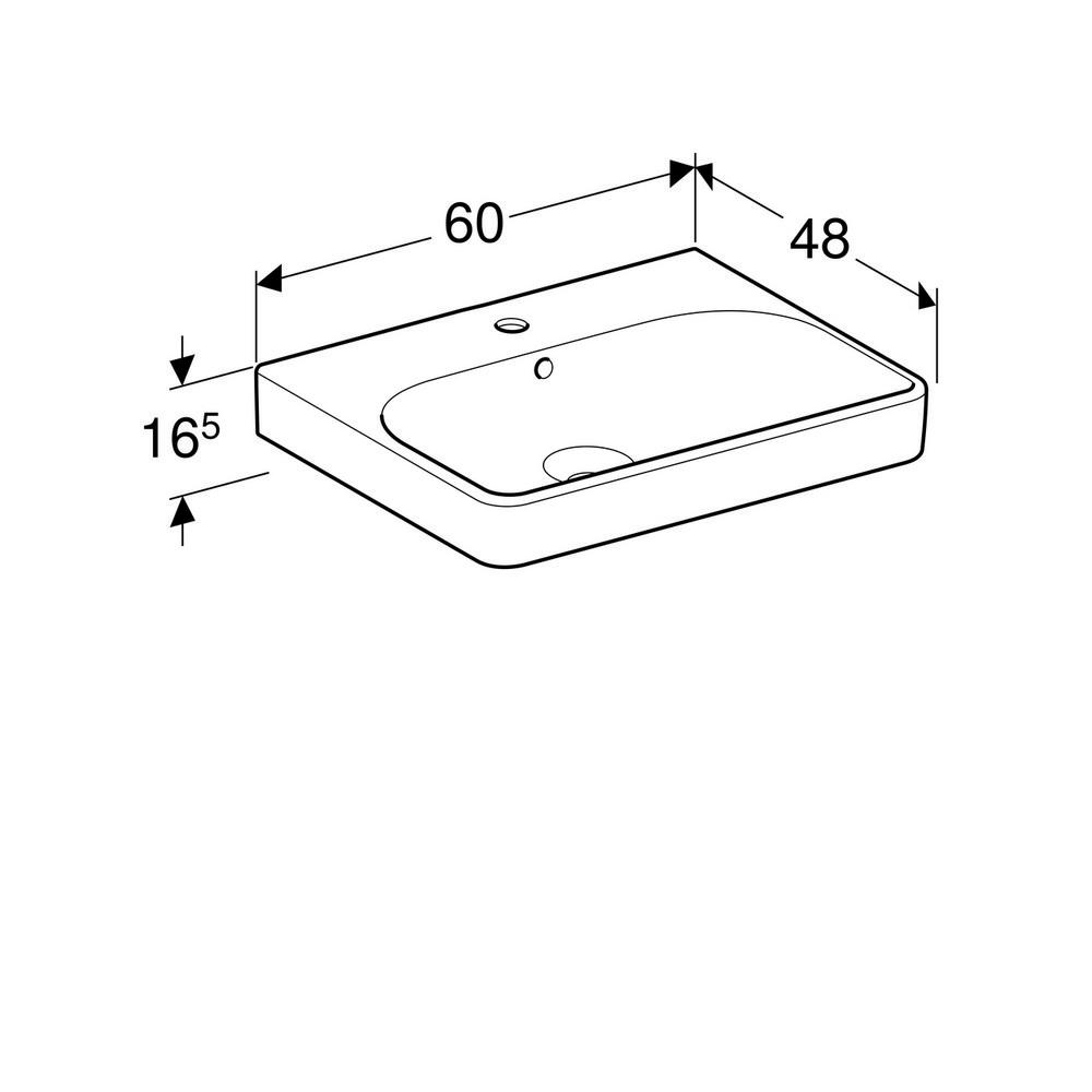 Geberit Smyle Square wastafel 60 cm 1 kraangat met overloop KeraTect, wit
