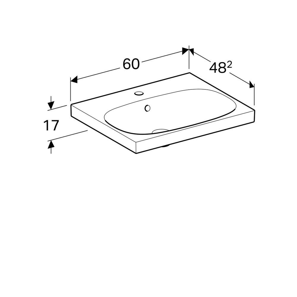 Geberit Acanto wastafel 60x48,2 cm 1 kraangat met overloop KeraTect, wit