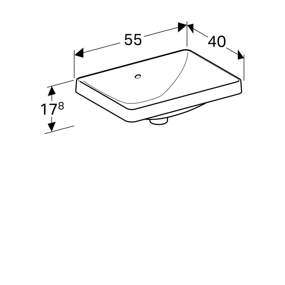 Geberit VariForm opbouwwastafel rechthoekig 55 cm met overloop, wit