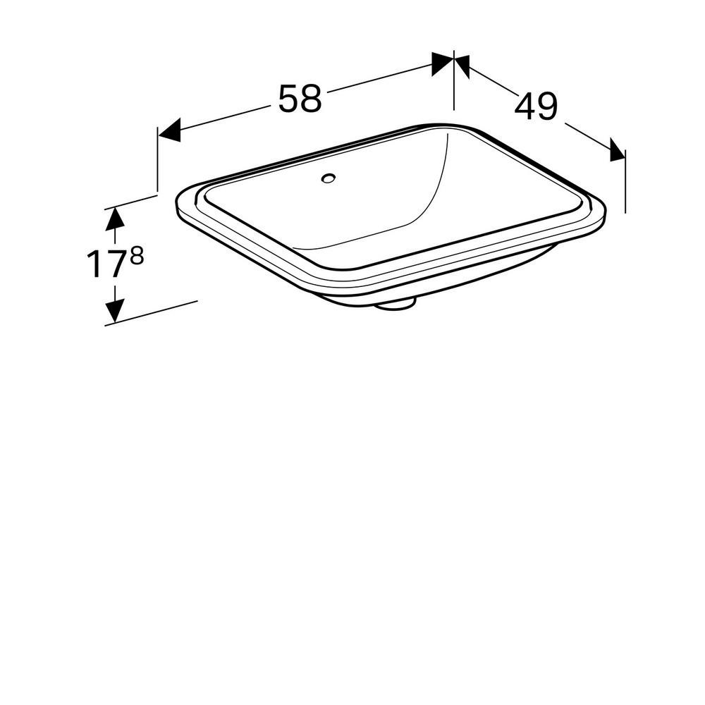Productafbeelding van Geberit Variform onderbouwwastafel rechth. 50cm met overloop tect wit 500.764.00.2