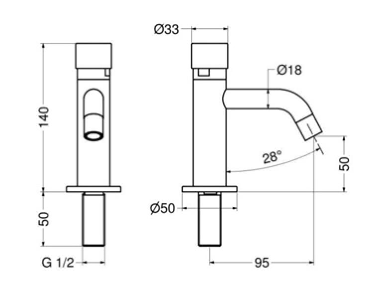 Plieger Napoli toiletkraan zelfsluitend 14 cm, chroom