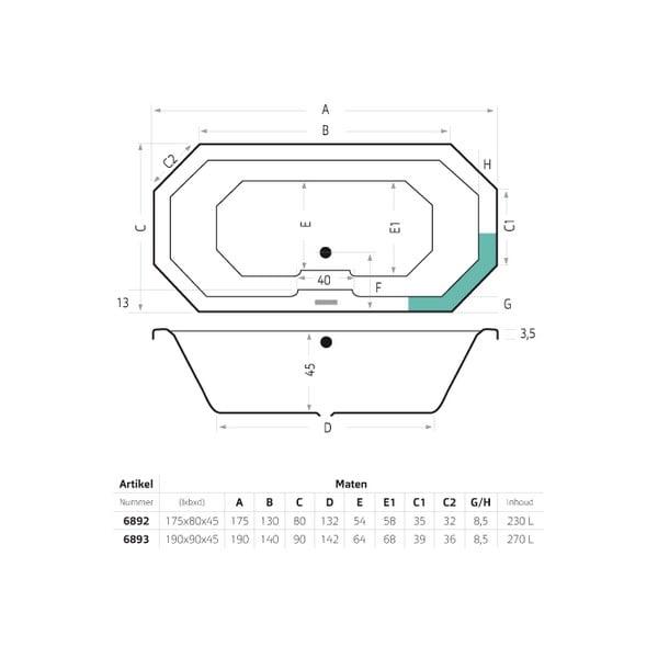 Xenz Sumba inbouwbad 190x90x45 cm acryl, wit
