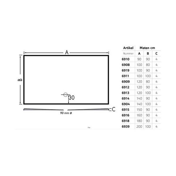 Productafbeelding van Xenz Flat douchevloer acryl 100x100 cm, wit