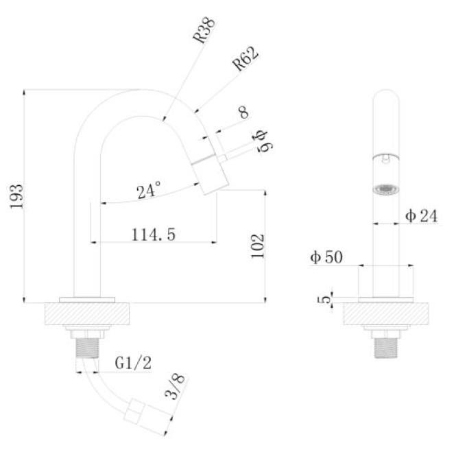Productafbeelding van Regn fonteinkraan gebogen, mat zwart