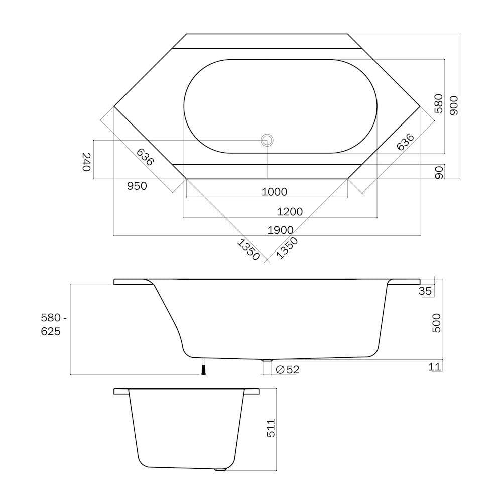 Sealskin Senso Slimfit ligbad 6-hoek 190x90 cm, wit