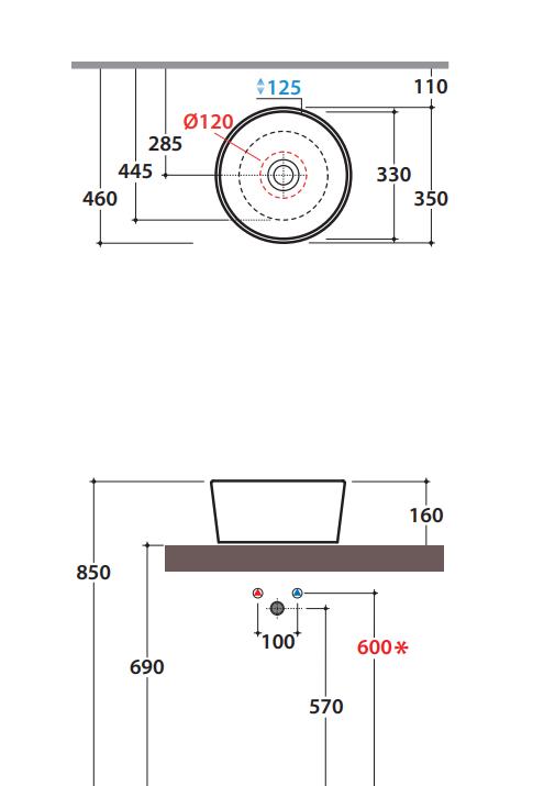 Globo Forty3 ronde opzetwastafel zonder kraangat en overloop 16 x 35 cm, fard