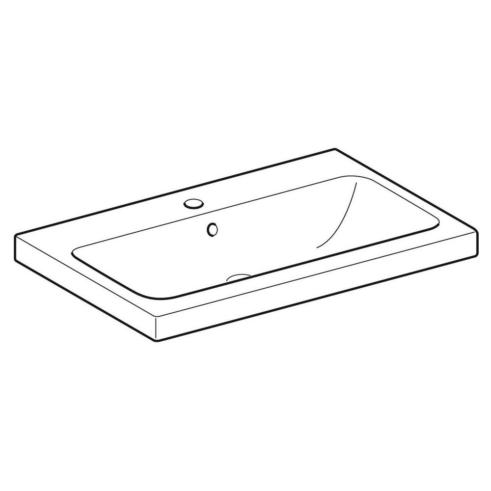 Geberit iCon wastafel 75x48 cm, met kraangat en overloop, wit